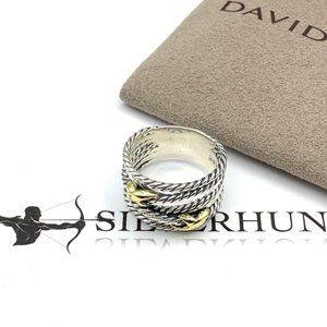 David Yurman Double X 18k Gold Crossover Ring Sz 8
